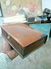 ANTIGUE  Wooden Box With Mirror Frame Barber Shaving Box Vanity Travelling