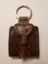 Brighton Brown Textured Leather Small Key Chain Picture Holder Mirror New