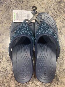 Crocs Monterey Diamante Wedge Flip Sandals for Ladies Sz 10