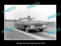 OLD LARGE HISTORIC PHOTO OF MICHIGAN STATE POLICE DODGE PATROL CAR c1960