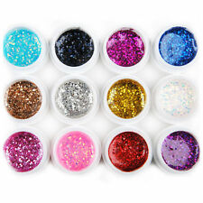 12 Big Glitter Shimmer UV Builder Gel Nail Art Deco Set Tips Polish Tools Kit