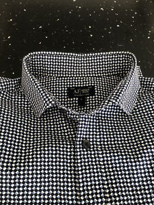 Armani Jeans Blue Pattern Shirt Size Large Mens Long Sleeve RRP £125 Excellent