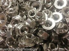 (50) M10-1.5 or 10mm x 1.5 A2 Stainless Smooth Flange Nut Spin Wiz Nuts