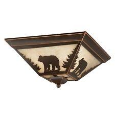 NEW 3 Light Rustic Bear Flush Mount Ceiling Lighting Fixture Bronze, Amber Glass