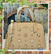 NWT $550 COACH DAISY APPLIQUE LILLIE Carryall Satchel Crossbody In TAUPE Leather