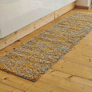Long Mustard Shaggy Runner Rug Warm Thick Fluffy Fleck Living Room Rug CLEARANCE