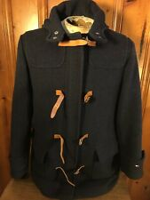 Tommy Hilfiger Women's Blue Wool Coat Peacoat Hooded Size Medium With Straps