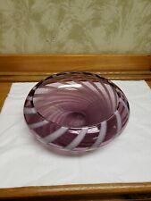 "Waterford Crystal EVOLUTION URBAN SAFARI 10"" Striped Amythest Purple Bowl - NEW!"