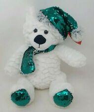"Gitzy 12"" Christmas Polar Teddy Bear with Flip Sequin Hat and Scarf (Green)"