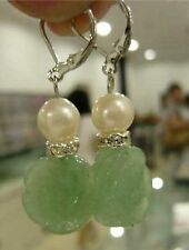 cadeaux de Noël, en forme de fleur ,naturel vert jade ,boucle d'oreille dangle
