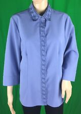 Kathy Che Stretch Pretty Women's Blue Button Down 3/4 Sleeve Blouse Size 12