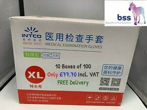 Intco - XL Blue Disposable Gloves. Powder Free & Latex Free - 10 Boxes of 100