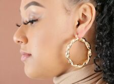 MEDIUM LARGE TWISTED ENGRAVED CIRCLE CREOLE HOOP EARRINGS 18ct GOLD PLATED
