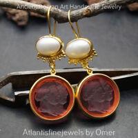 925 k Silver Roman Art Unique Intaglio & Pearl Earrings 24k Gold Plated Omer