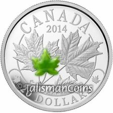 Canada 2014 Majestic Maple Leaves #3 $20 SML w/ Jade Pure Silver Proof Leaf