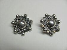 Vintage Mexico Taxco 925 Sterling Silver Clip Earings 22 Grams TJ-75