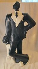 Vintage 1980s Ceramic 27.5 inch Tall Dapper Man Statue Black and White