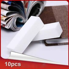 10*White Pro Acrylic Nail Art Tips Buffer Buffing Sanding Block Files White Nail