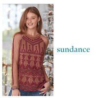 NEW Sundance Women's Jourdan Mesh Beaded Dreamscape Mock neck top Size Medium
