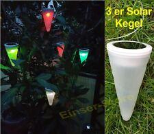 Neuheit 3 x Solar Kegel zum Aufhängen Farbwechsel LED Solarleuchte  Neu