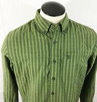 P25 Mens The North Face Plaid Button Front Shirt Sz Medium Green Zip Pocket