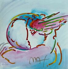 """PETER MAX """"I Love the World"""" HAND SIGNED SERIGRAPH 1994"""