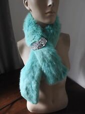pale light green real genuine fox fur pelt collar scarf satin lining coat jacket