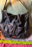 Coach Avery Indigo Purple Cross Grain Leather Drawstring Hobo Tote Shoulder Bag