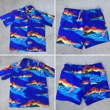 Winnie Fashion Xl 2pc Vtg Mens Hawaii Aloha Palmtree Sailboat Sunset Shirt Short