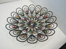 Decorative Colorful Beaded Wire Shallow Bowl