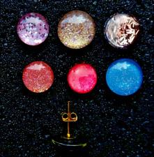 Ohrstecker Cabochon Glas Ohrringe Glitzer Damen Auswahl Sommer Gold Handgemacht