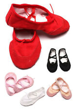 Soft Kids Girls Lady Yoga Ballet Dance Shoes Canvas Leather Sole Elegant Soft