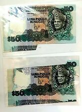 =AN= MALAYSIA BANKNOTE RM50 2PCS EXTRA PAPER WITH CUTTING ERROR SUPER RARE