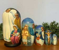 Russian Nesting dolls Matreshka! Nativity 5 pieces! Beautiful Set for Christmas