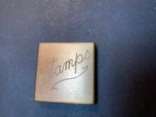 """Antique Brass stamp box, stamp case, """"Stamps"""" on lid"""
