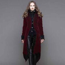 Devil Fashion Women's Gothic Jacket long Coat Red Velvet steampunk Vampire
