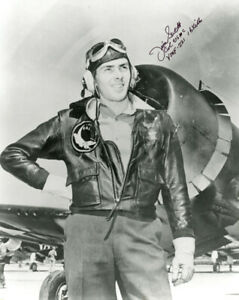 JAMES SWETT SIGNED 8x10 PHOTO MARINE FIGHTER ACE MEDAL OF HONOR MOH BECKETT BAS