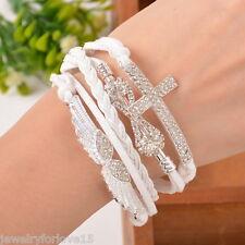 FL: Weiß Lederarmband Wickelarmband Unendlich Strass Kreuz Engelsflügel Armband