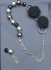 Dichiarazione deliziosa Nero & Collana Catena argento con rose nere + Perle di grandi dimensioni