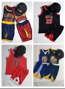 New Kids Basketball Bulls & Golden State & Cleveland NBA Jersey Top+Short Set 23