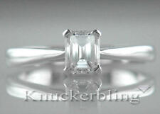 Diamond Ring Platinum Engagement Solitaire 0.70ct Certified D IF VG Emerald Cut