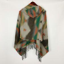 AZIZA Southwestern Aztec Print Hooded Fringed Poncho One Size