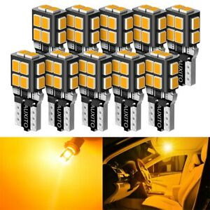AUXITO LED Light T10 194 168 SMD Interior Side Marker Bulbs Amber Yellow Canbus