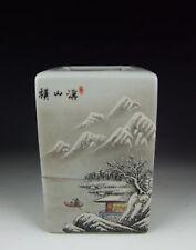 Chinese Antique QianJiangCai Porcelain Brush Holder Snow Scene
