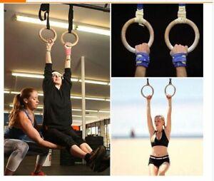 Gymnastic Rings Wooden 28mm Gym Fitness Training Portable Gymnastics Equipment