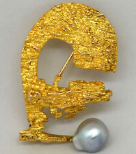 Bjorn Weckstrom Lapponia 14K Solid Gold and Pearl  Brooch/Pin