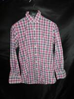 Peter Millar S Purple Blue Plaid Shirt Button Down Collar Cotton Long Sleeve Men