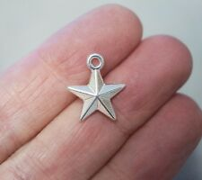 10 Puffed Star Charms, Star Pendants - 16mm - 3D - Metal Silver Colour