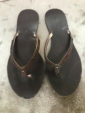 Ted Baker Lovely Brown Leather Jewelled Piper Sandals - Size 4 (37)