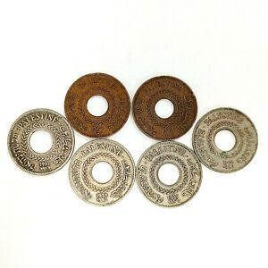 SET 6 Different Coins - 5 Mils - Palestinian Coin Mil Palestine Israel 1927-1946
